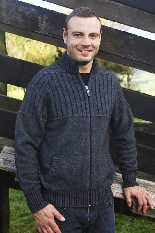 Possum Merino Men's 9822 Full Zip Jacket With Pockets