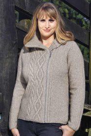 Possum Merino Ladies 9825 Offset Cabled Jacket