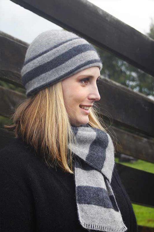 Possum Merino Beanie 9883 Directional Stripe