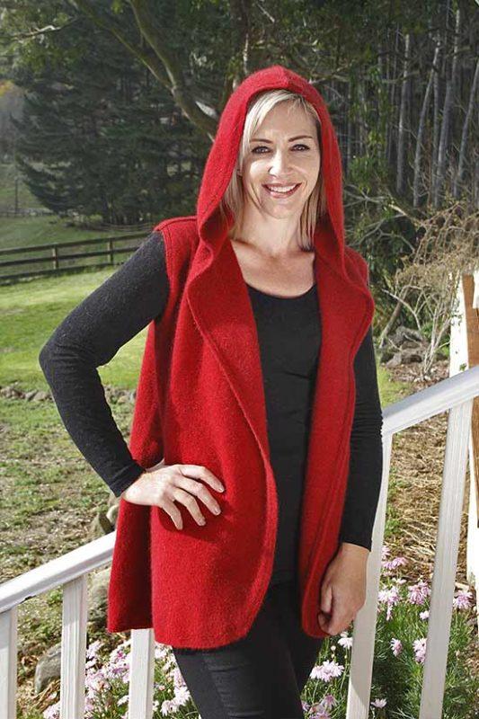 Possum Merino Ladies Z134 Drape Vest with Hood