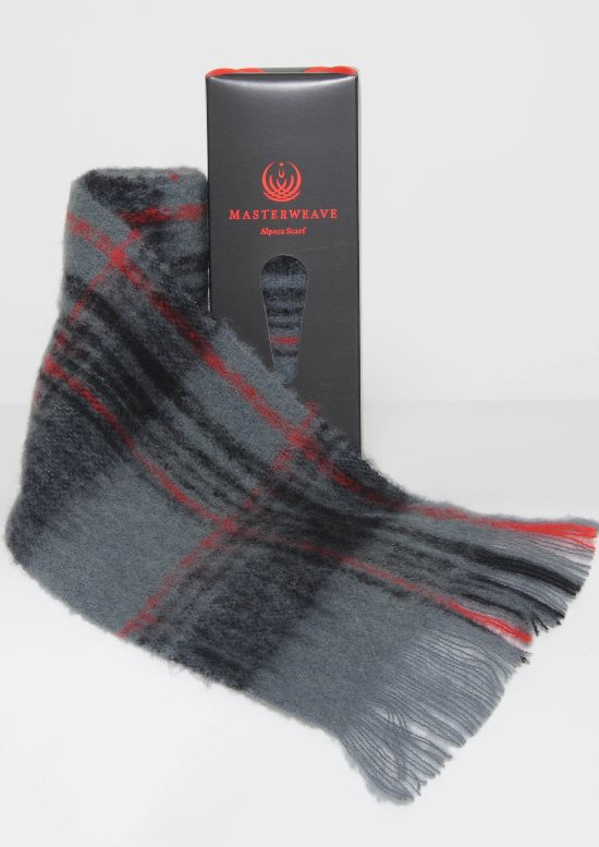 Alpaca Grey Black Check Scarf